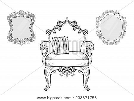 Armchair and mirrors with luxurious ornaments. Vector French Luxury rich intricate structure. Victorian Royal Style decors