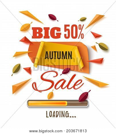 Big autumn sale banner with abstract leafs, loading bar and colorful partikles isolated on white background. Template for poster or brochure.  Vector illustration.