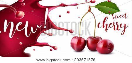 Cherry juice. Fresh fruit, 3d vector icon