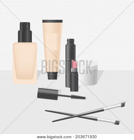 Realistic makeup and cosmetics products and tools. Lipstic brushes mascara powder and mascara