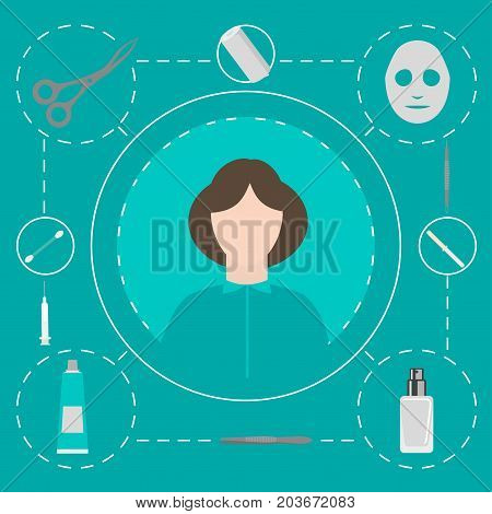 Beauty Salon. Dermatologist tools. Equipment loops extractors and syringe . Dermatology and cosmetology concept. Cosmetic Instrument isolated