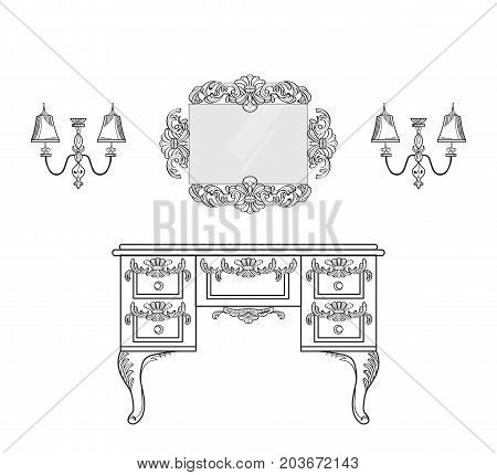 dressing table with luxurious ornaments. Vector French Luxury rich intricate structure. Victorian Royal Style decors