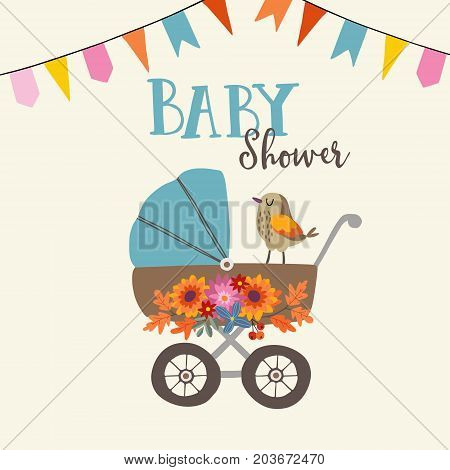 Cute baby shower invitation or birthday card with bird, baby carriage and flowers, ector illustration background with party flags.
