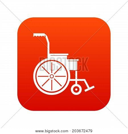 Wheelchair icon digital red for any design isolated on white vector illustration