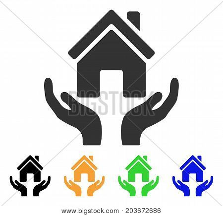 House Care Hands icon. Vector illustration style is a flat iconic house care hands symbol with black, gray, green, blue, yellow color versions. Designed for web and software interfaces.