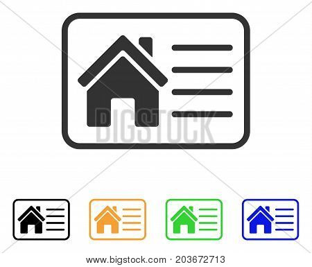 House Info Card icon. Vector illustration style is a flat iconic house info card symbol with black, grey, green, blue, yellow color versions. Designed for web and software interfaces.