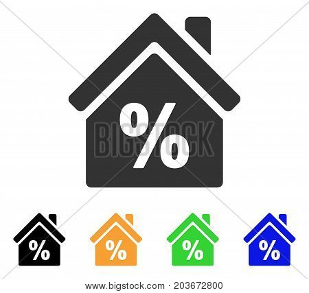 Mortgage Discount icon. Vector illustration style is a flat iconic mortgage discount symbol with black, grey, green, blue, yellow color versions. Designed for web and software interfaces.