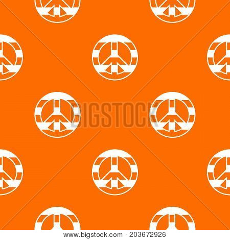 LGBT peace sign pattern repeat seamless in orange color for any design. Vector geometric illustration