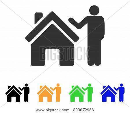 Realty Buyer icon. Vector illustration style is a flat iconic realty buyer symbol with black, gray, green, blue, yellow color versions. Designed for web and software interfaces.