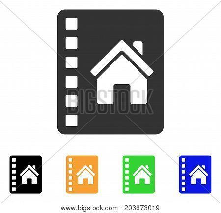 Realty Catalog icon. Vector illustration style is a flat iconic realty catalog symbol with black, grey, green, blue, yellow color variants. Designed for web and software interfaces.