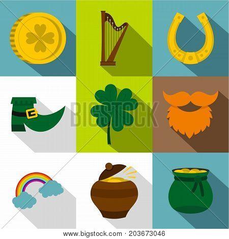 Irish celebration icon set. Flat style set of 9 Irish celebration vector icons for web design