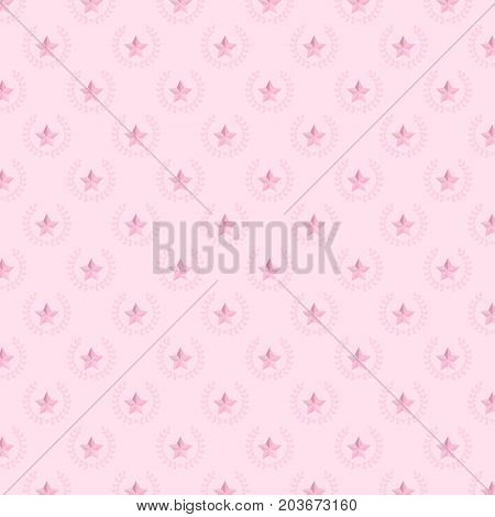 Star and laurel wreath pattern background stock vector