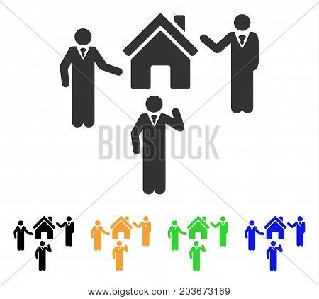 Realty Discuss Persons icon. Vector illustration style is a flat iconic realty discuss persons symbol with black, gray, green, blue, yellow color versions. Designed for web and software interfaces.