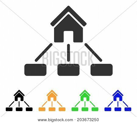 Realty Links icon. Vector illustration style is a flat iconic realty links symbol with black, grey, green, blue, yellow color variants. Designed for web and software interfaces.