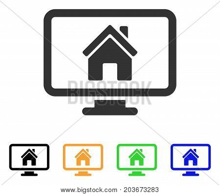 Realty Monitoring icon. Vector illustration style is a flat iconic realty monitoring symbol with black, grey, green, blue, yellow color versions. Designed for web and software interfaces.