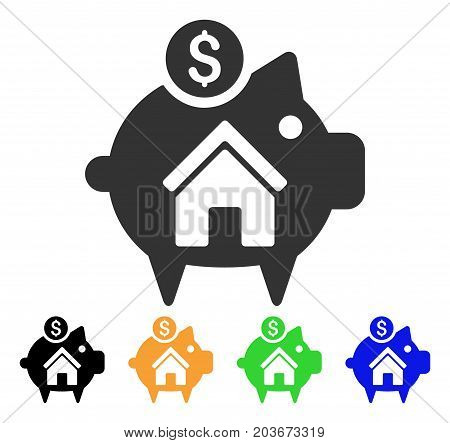 Realty Piggy Bank icon. Vector illustration style is a flat iconic realty piggy bank symbol with black, grey, green, blue, yellow color variants. Designed for web and software interfaces.