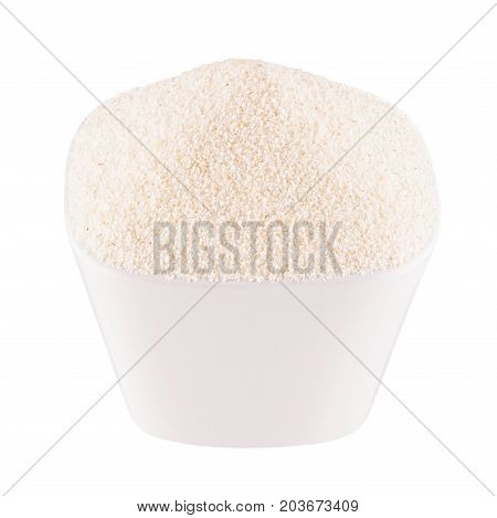 Semolina in white bowl closeup isolated. Template for menu cover advertising.