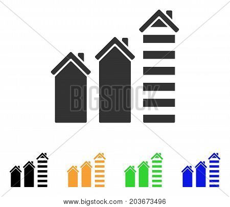 Realty Trend icon. Vector illustration style is a flat iconic realty trend symbol with black, gray, green, blue, yellow color versions. Designed for web and software interfaces.
