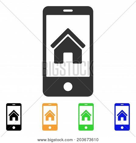 Smartphone Homepage icon. Vector illustration style is a flat iconic smartphone homepage symbol with black, grey, green, blue, yellow color versions. Designed for web and software interfaces.