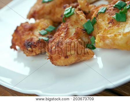 Buffalo Popcorn Chicken , close up homemade meal
