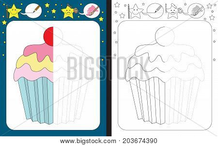 Preschool worksheet for practicing fine motor skills - tracing dashed lines - finish the illustration of cupcake