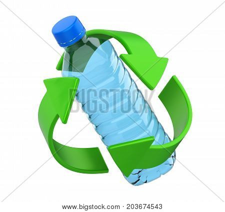 Recycle Sign with Plastic Bottle isolated on white background. 3D render