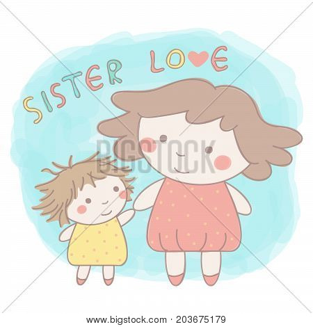 Cute vector hand drawn style illustration of two adorable little sisters holding hands