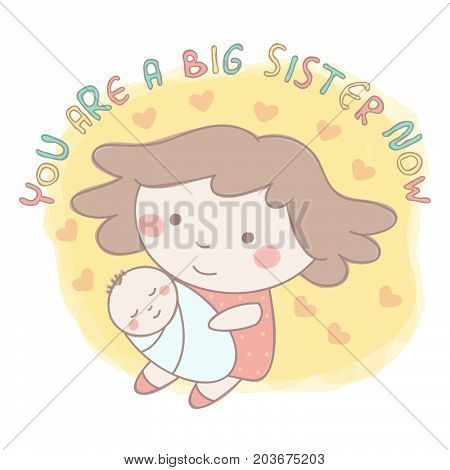 Cute vector illustration of sweet little girl holding her newborn baby brother or sister, colorful hand drawn style