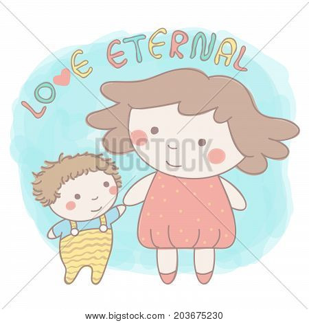 Cute vector illustration with little sister and baby brother or sister holding hands in colorful hand drawn style