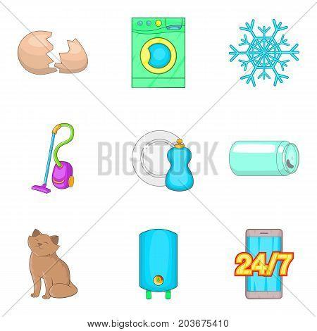 House cleaning service icon set. Cartoon set of 9 house cleaning service vector icons for web design isolated on white background