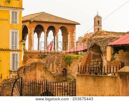 Roman Forum. Ruins of times of the Roman Empire. Tower of Milizie and Casa dei Cavalieri di Rodi. Rome, Italy