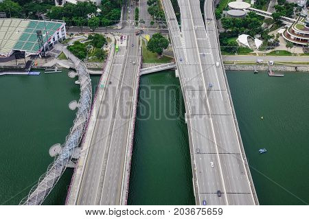 Aerial View Of Highway In Singapore