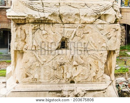 Fragment of building of the Roman Forum. Ruins of times of the Roman Empire. Rome, Italy