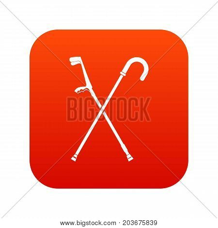 Walking cane icon digital red for any design isolated on white vector illustration