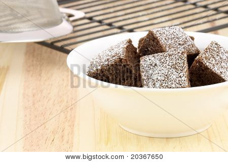 Chocolate Brownies With Powdered Sugar On Top