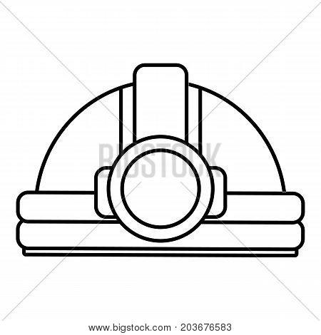 Mining helmet icon. Outline illustration of mining helmet vector icon for web design isolated on white background