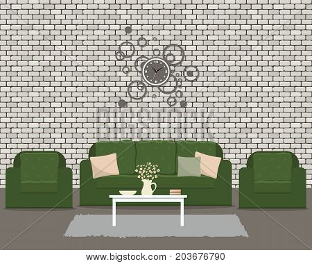 Living room with green furniture and round clock. There is a sofa and two armchairs on a brick wall background in the picture. There is also a table with flowers here. Vector flat illustration