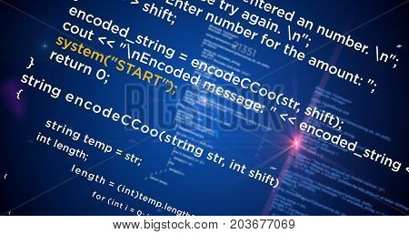 Computer programming code and technology abstract rendering. Data and software background.