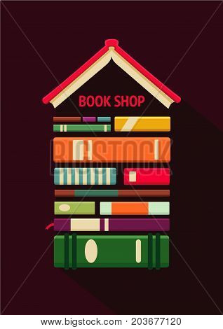 Books store poster. Bookshop sign. Flat style