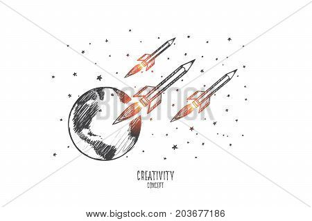 Creative team concept. Hand drawn rockets flying in cosmos. Rockets as symbol of fantasy flight isolated vector illustration.