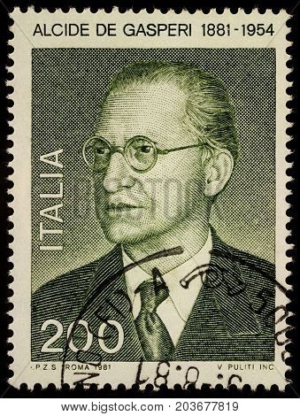 Moscow Russia - September 11 2017: A stamp printed in Italy shows Alcide de Gasperi (1881-1954) Italian statesman and politician founder the Christian Democracy party circa 1981