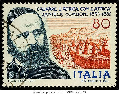 Moscow Russia - September 11 2017: A stamp printed in Italy shows portrait of Saint Daniele Comboni Catholic missionary in Africa dedicated to the 150th Anniversary of the Birth circa 1981