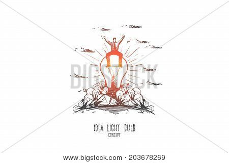 Idea light bulb concept. Hand drawn businessman sitting on light bulb. Happy person solved problem. Isolated vector illustration.