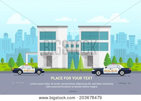 City police station on urban background - modern vector illustration with place for text. Two cars, nice park with trees. Cityscape with scyscrapers, buldings. Blue sky with clouds