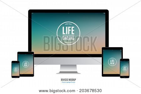 mockup devices: smartphone tablet and computer monitor with color screen isolated on white background. stock vector illustration eps10