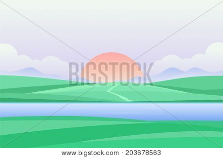 Sunset or dawn by the river - modern vector illustration - modern vector illustration. Beautiful view with big sun, clouds, green grass, field, meadow. Picturesque landscape