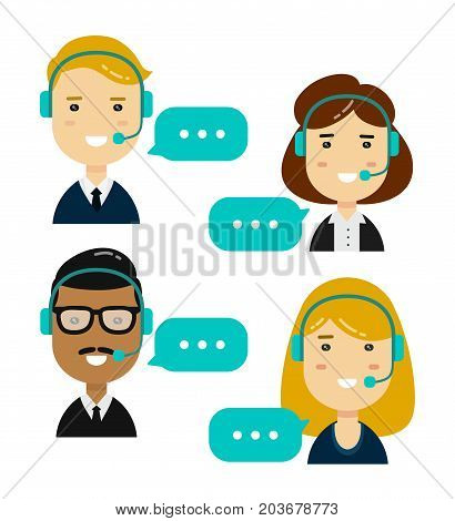Male and female call center avatars.isolated on white background. Vector modern style flat cartoon character illustration design icon.  Technical support, communication concept