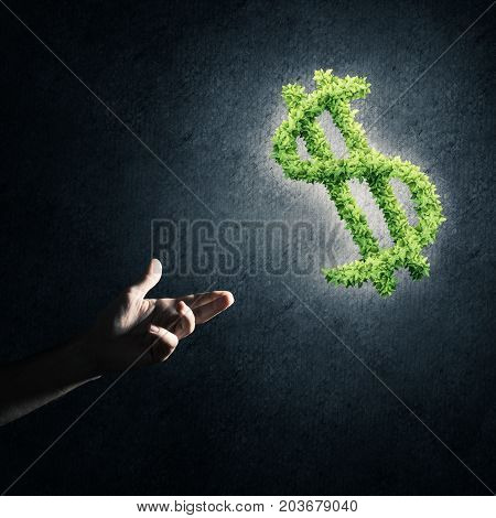 Close of male hand holding dollar sign made of green grass