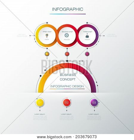 Vector Infographic label design with icons and 3 options or steps. Infographics for business concept. Can be used for presentations, banner, workflow, layout, process, diagram, flow chart, info graph