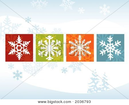 Stylized Snowflake Winter Backgroun